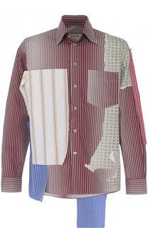 Хлопковая рубашка свободного кроя с отделкой Marni