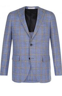 Однобортный пиджак из смеси шерсти и льна с шелком Sartoria Latorre