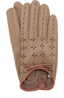 Кожаные перчатки с перфорацией Agnelle