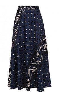 Шелковая юбка-миди с принтом REDVALENTINO