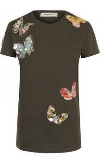 Хлопковая футболка с круглым вырезом и отделкой в виде бабочек Valentino