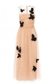 Платье-миди с завышенной талией и контрастной отделкой REDVALENTINO