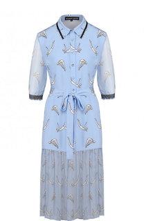 Приталенное шелковое платье-миди с поясом и принтом Markus Lupfer