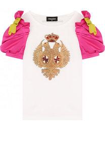 Хлопковая футболка с вышивкой и контрастными рукавами Dsquared2
