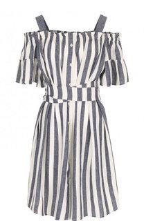 Мини-платье из смеси вискозы и льна с поясом Pietro Brunelli