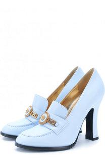 Кожаные туфли Tribute с пряжкой на устойчивом каблуке Versace