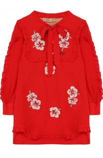 Платье прямого кроя с отделкой пайетками и воротником аскот No. 21