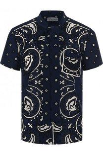 Шелковая блуза с коротким рукавом и принтом REDVALENTINO