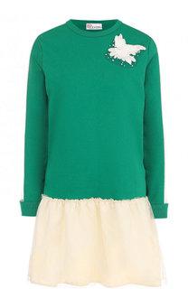Хлопковое мини-платье с круглым вырезом и оборкой REDVALENTINO