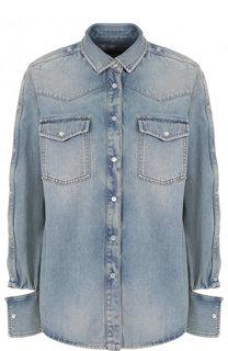 Джинсовая блуза свободного кроя с потертостями Valentino