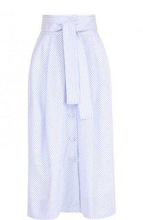 Хлопковая юбка-миди в полоску с поясом Tara Jarmon