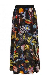 Шелковая юбка-макси с цветочным принтом Giorgio Armani