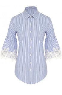 Хлопковая блуза с укороченным рукавом в полоску Van Laack