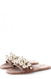 Бархатные шлепанцы с жемчужинами Miu Miu