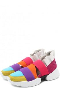 Комбинированные кроссовки с оборками Emilio Pucci
