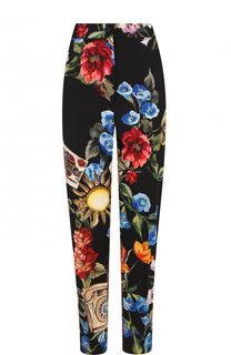Укороченные брюки прямого кроя из смеси шести и шелка с принтом Dolce & Gabbana