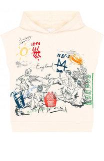 Хлопковая футболка с капюшоном и принтом Burberry