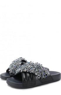Кожаные шлепанцы с отделкой кристаллами Tory Burch