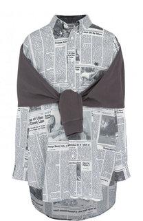 Хлопковая блуза свободного кроя с принтом Balenciaga