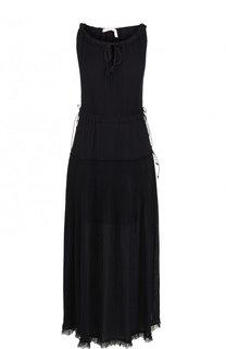 Однотонное платье-миди с круглым вырезом и разрезом See by Chloé