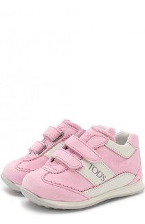 Замшевые кроссовки с застежками велькро Tod's Tods
