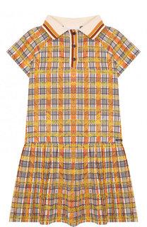 Мини-платье из смеси хлопка и шелка с защипами Burberry