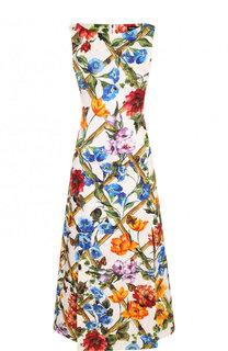 Приталенное платье-миди с разрезом и принтом Dolce & Gabbana