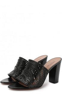 Кожаные мюли с перфорацией на устойчивом каблуке Alaia