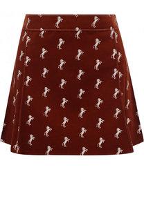 Бархатная мини-юбка с принтом Chloé