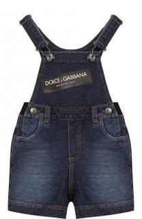 Хлопковый комбинезон с эластичной вставкой на поясе и логотипом бренда Dolce & Gabbana
