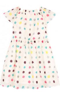 Хлопковое мини-платье с принтом и поясом на кулиске Burberry