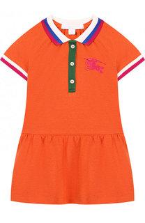 Хлопковое мини-платье с контрастной отделкой Burberry
