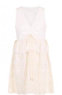 Хлопковое мини-платье с V-образным вырезом и кружевной вставкой See by Chloé