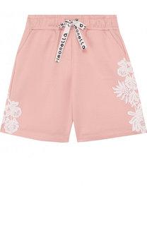 Хлопковые шорты с кружевной аппликацией и поясом на кулиске Simonetta