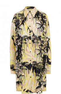 Хлопковое платье-рубашка с принтом Dries Van Noten