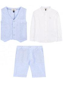 Льняной комплект из рубашки и шорт с жилетом Armani Junior