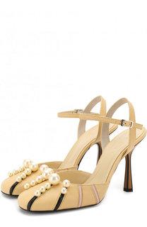 Кожаные туфли с жемчужинами на шпильке Marni