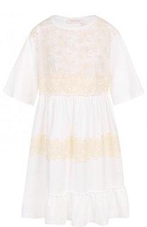 Хлопковое мини-платье с кружевной отделкой See by Chloé