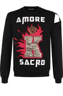Хлопковый свитшот с отделкой Dolce & Gabbana