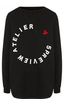 Хлопковый пуловер свободного кроя с логотипом бренда 5PREVIEW