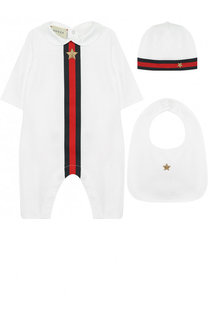 Комплект из хлопкового боди и шапочки с нагрудником Gucci