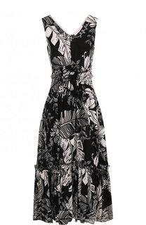 Приталенное платье-миди с V-образным вырезом и принтом See by Chloé