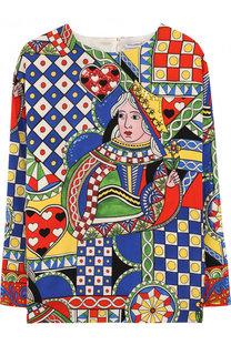 Шелковая туника с принтом и пайетками Dolce & Gabbana