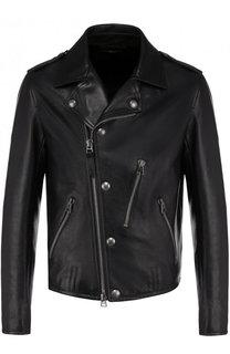 Кожаная куртка с косой молнией Tom Ford