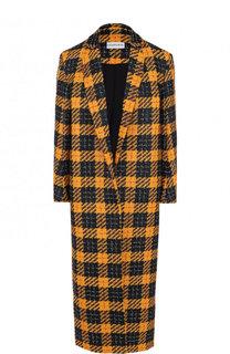 Шерстяное пальто с укороченным рукавом в клетку Chapurin