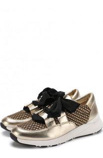 Комбинированные кроссовки на шнуровке Casadei