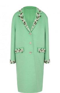 Шерстяное пальто свободного кроя с декоративной отделкой Gucci