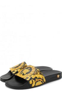 Кожаные шлепанцы Barocco Versace