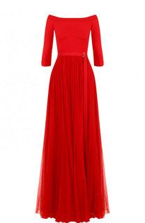 Приталенное платье-макси с открытыми плечами Alexander McQueen