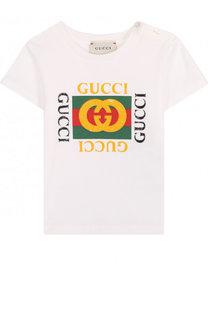 Хлопковая футболка с логотипом бренда Gucci